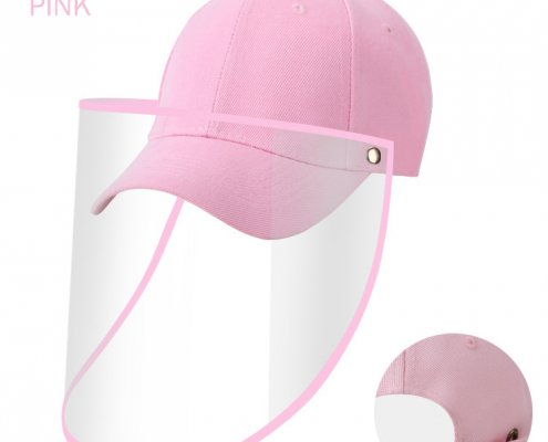 pink baseball hat with face shield