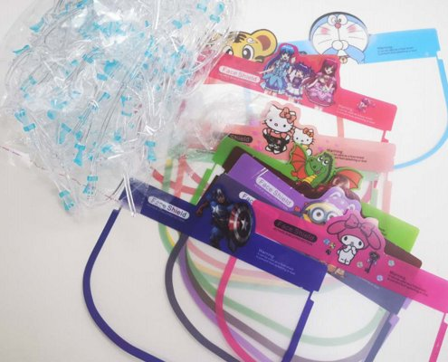Cartoon face shield with goggles for kids
