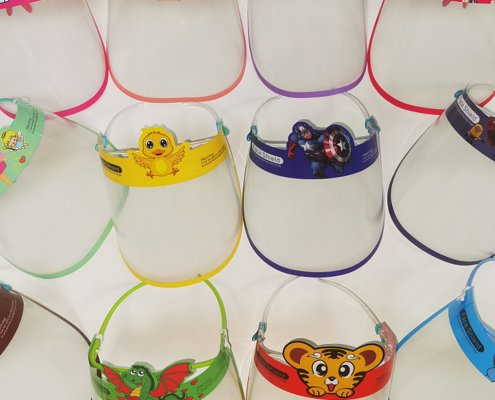 Colorful face shields with goggles for kids